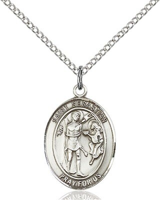 """Sterling Silver St. Sebastian Pendant on an 18"""" Light Rhodium Curb Chain with a Clasp"""