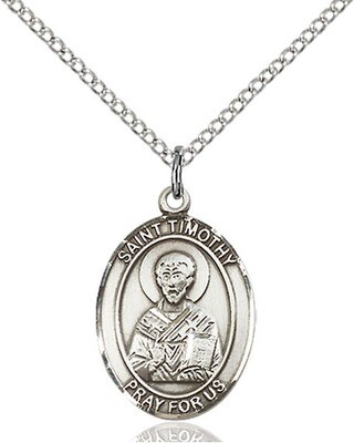 """Sterling Silver St. Timothy Pendant on an 18"""" Light Rhodium Curb Chain with a Clasp"""