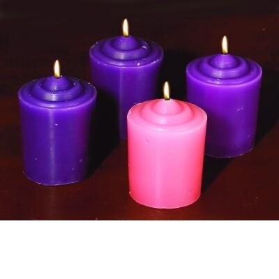 4 Piece Votive Candle Set- 3 Purple, 1 Pink