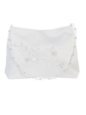 Satin Bag with Lace Applique