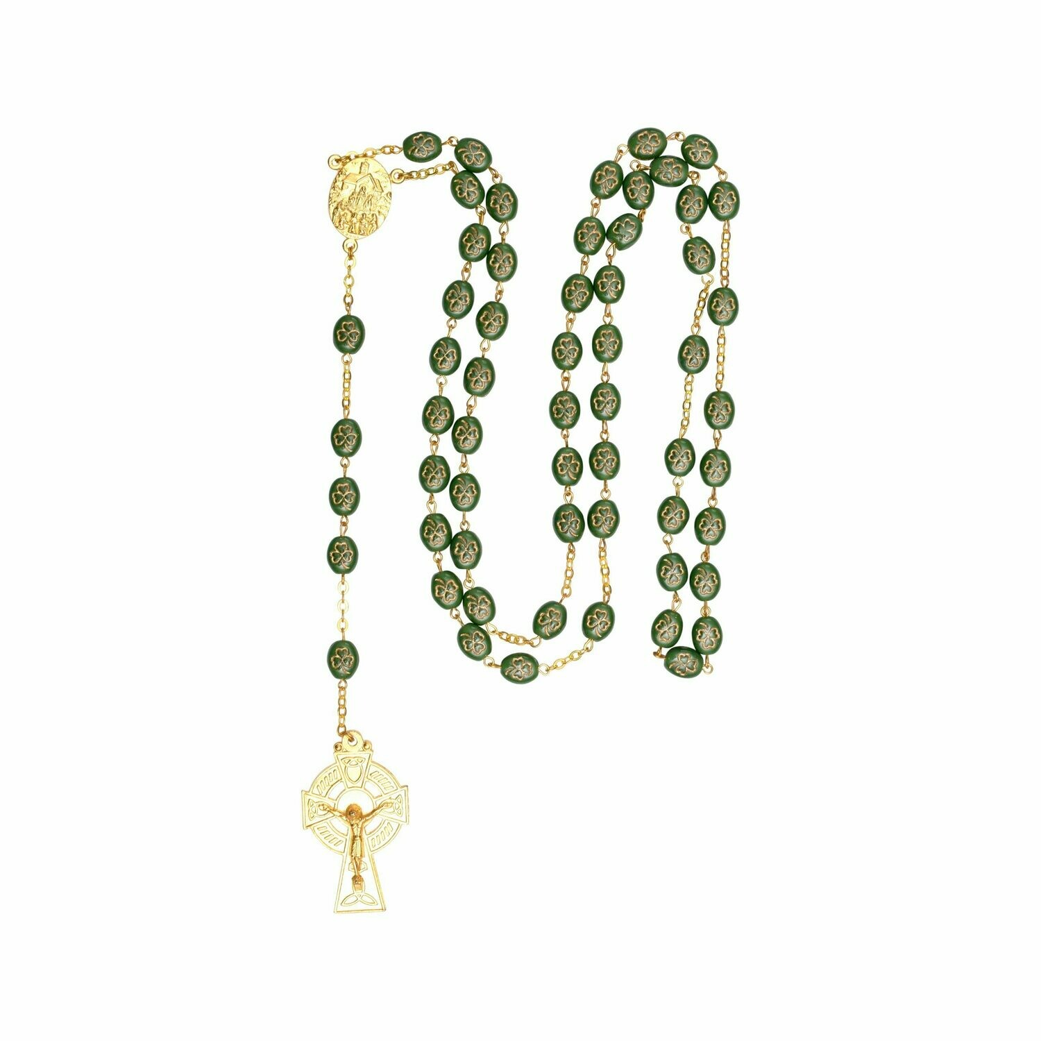 Gilt Shamrock Rosary Beads with Knock Water Center