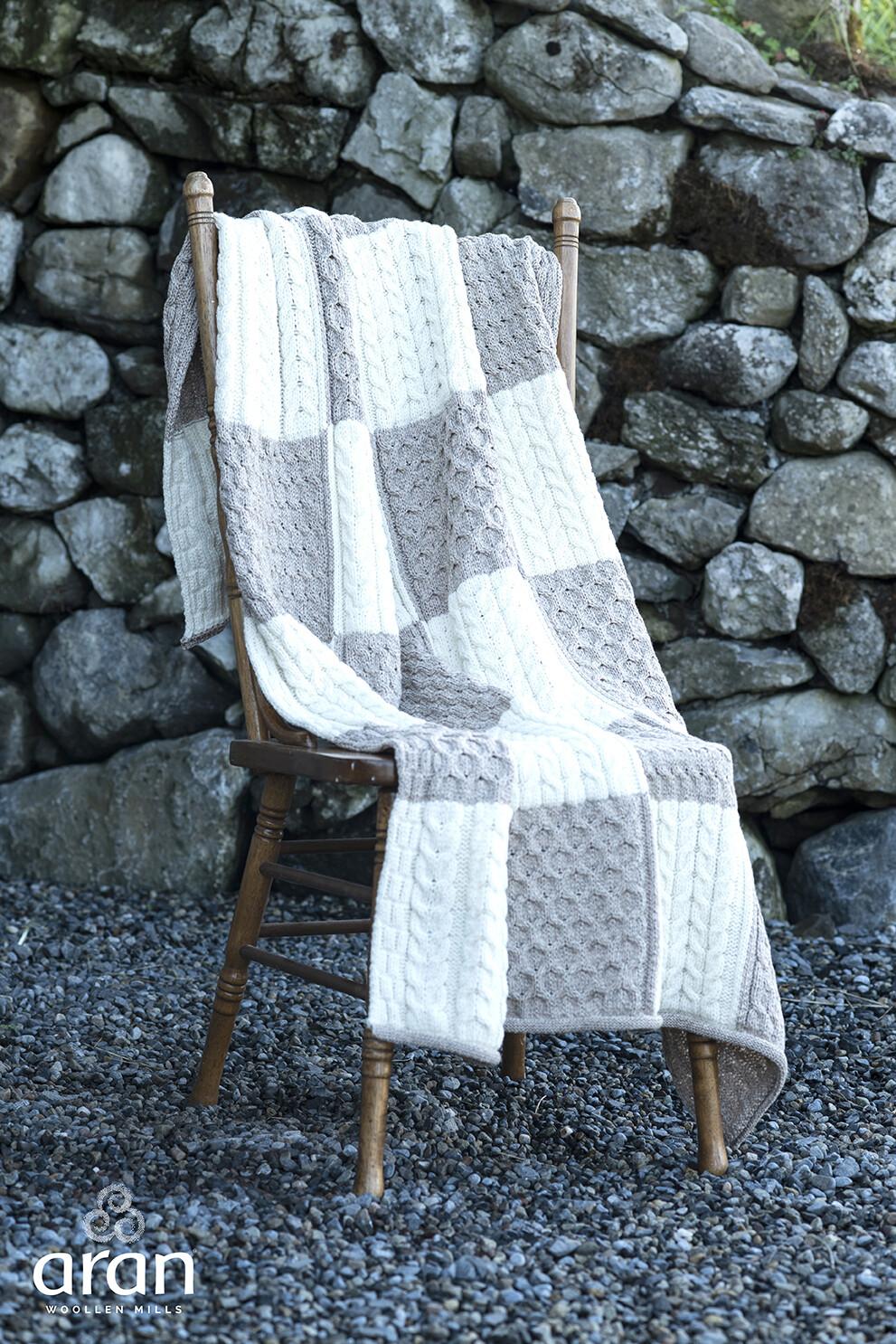 Aran Checkered Knit Blanket