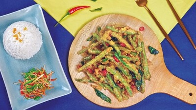 French Beans with Salted Egg Yolk