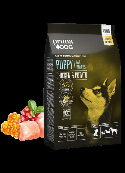 PrimaDog puppy all breed kylling & kartoffel 4kg.