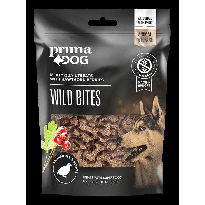 Primadog wild bites m vagtel og havtorn - 150g