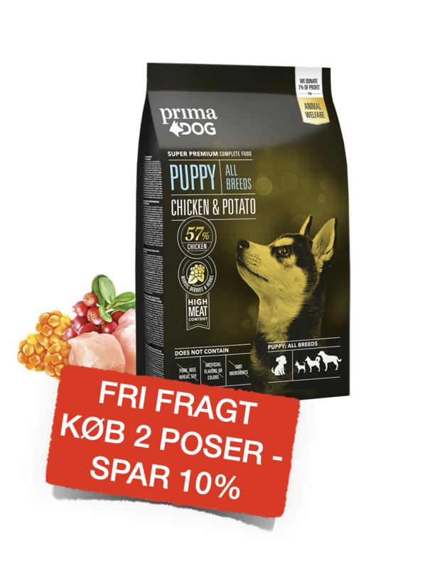 PrimaDog puppy all breed kylling & kartoffel 10kg.