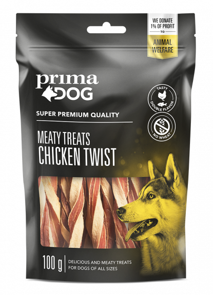 Primadog twisted kyllinge stick - 100g