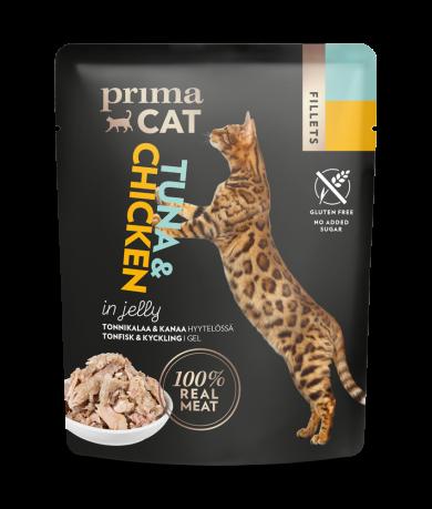 Primacat vådfoder - tun med kylling i gele - 50g