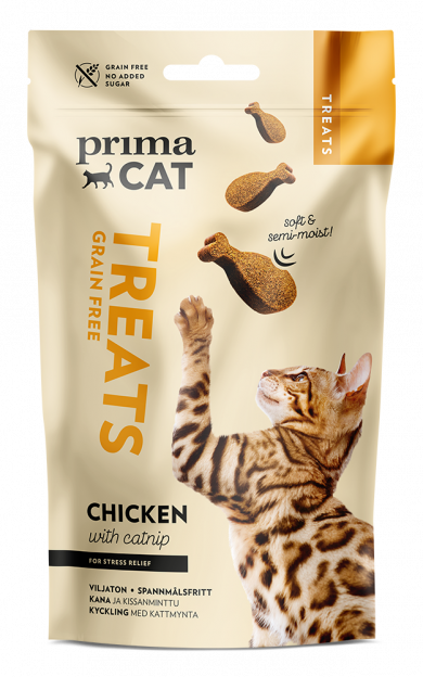 Primacat bløde godbidder m kylling og katnip - 50g