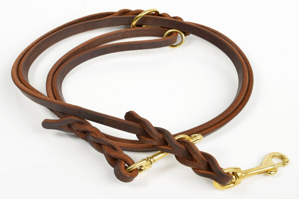 Kenjan smal dobbeltline 250cm - brun/messing