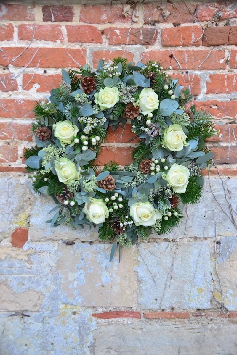 Fresh Floral White Christmas Wreath
