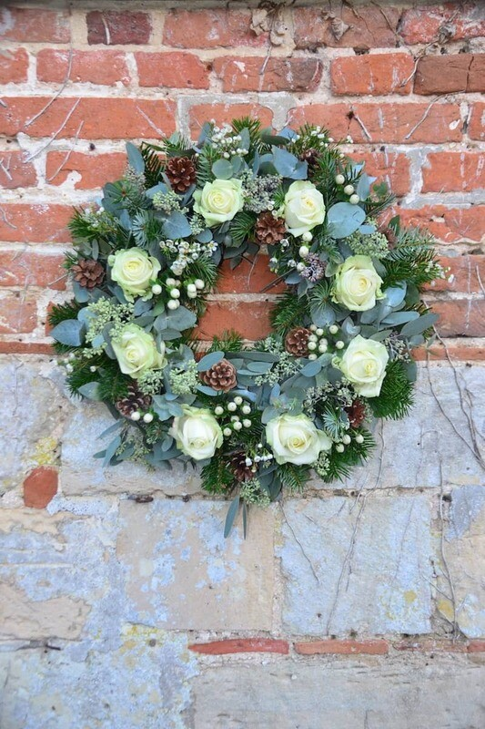 Fresh Floral White Christmas Wreath