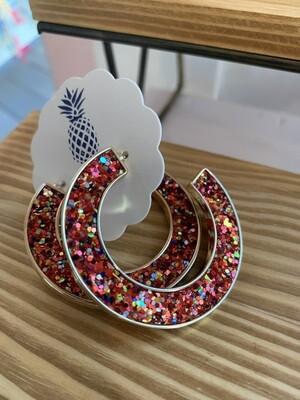 Festive Glitter Hoop Earrings - Red