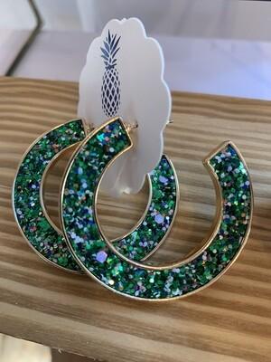 Festive Glitter Hoop Earrings - Green
