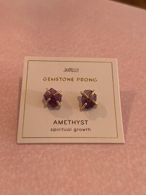 Amethyst prong earring