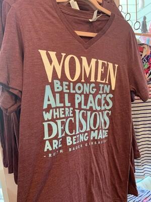 Women belong v neck tee