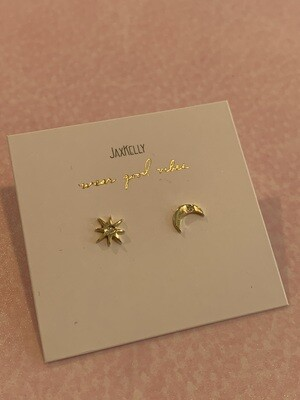 Sun and moon complements earring