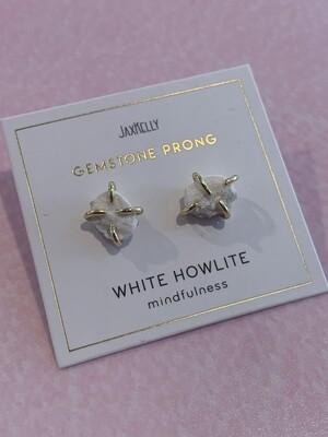 White howlite prong earrings