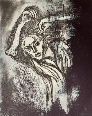 """""""Thoughts and Dreams"""", etching with solar plate etching"""