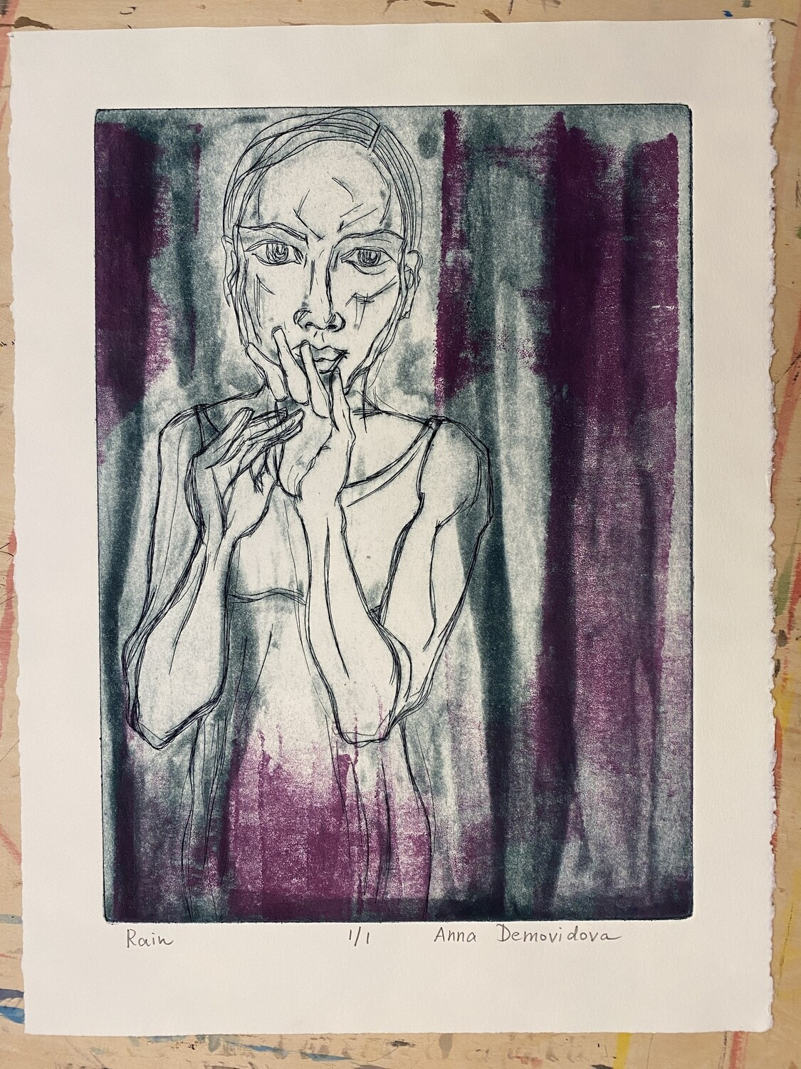 """""""Rain"""", etching with aquatint and monotype"""