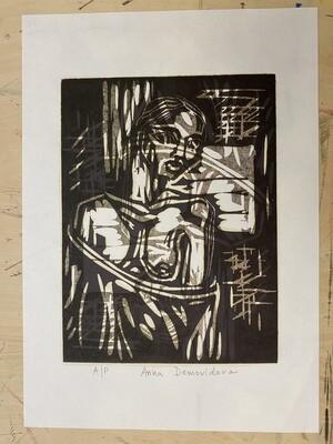 """Nude"", woodcut print"