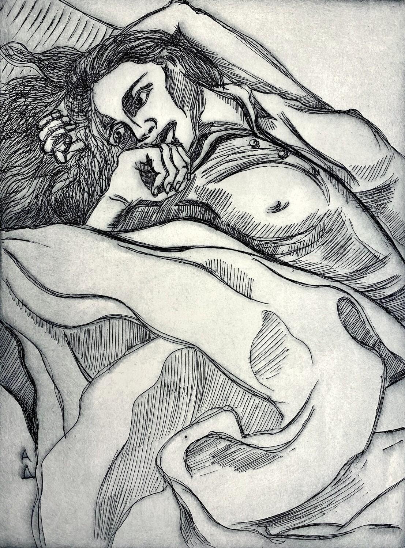 """Rest"" etching print"
