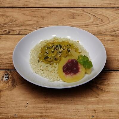 Riz Casimir, Poulet, Reis, Früchte