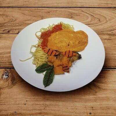 Poulet-Piccata, Spaghetti, Sugo, Kürbis