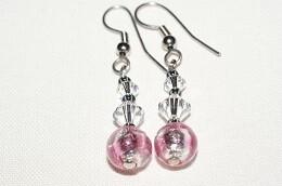 Ohrhänger Swarovski Crystal Star /  rosa