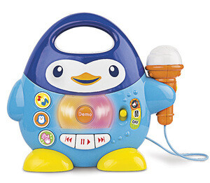 Penguin plays and microphone