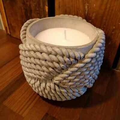 Kynttilä betoni / naru harmaa