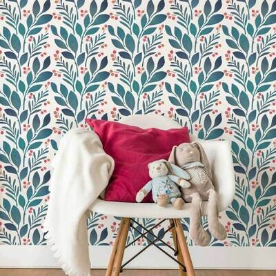 Magnolia and Berries Wall Stencil