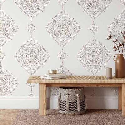 Dotted Medallion Wall Stencil Size Large