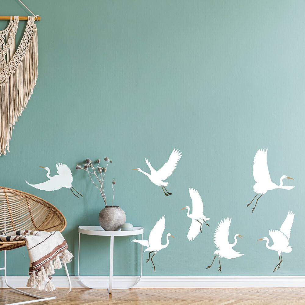 Dancing Egrets Wall Stencil