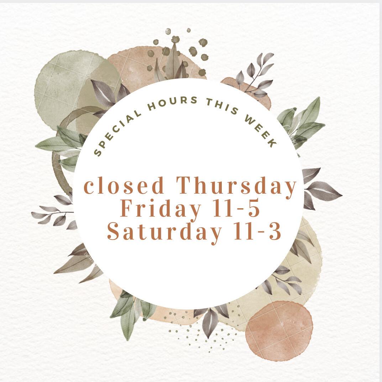 Special Hours Week of 9/13/21
