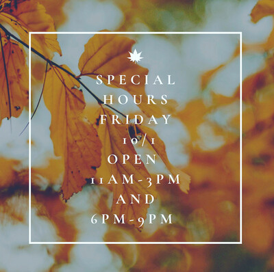 Special Hours 10/1/21