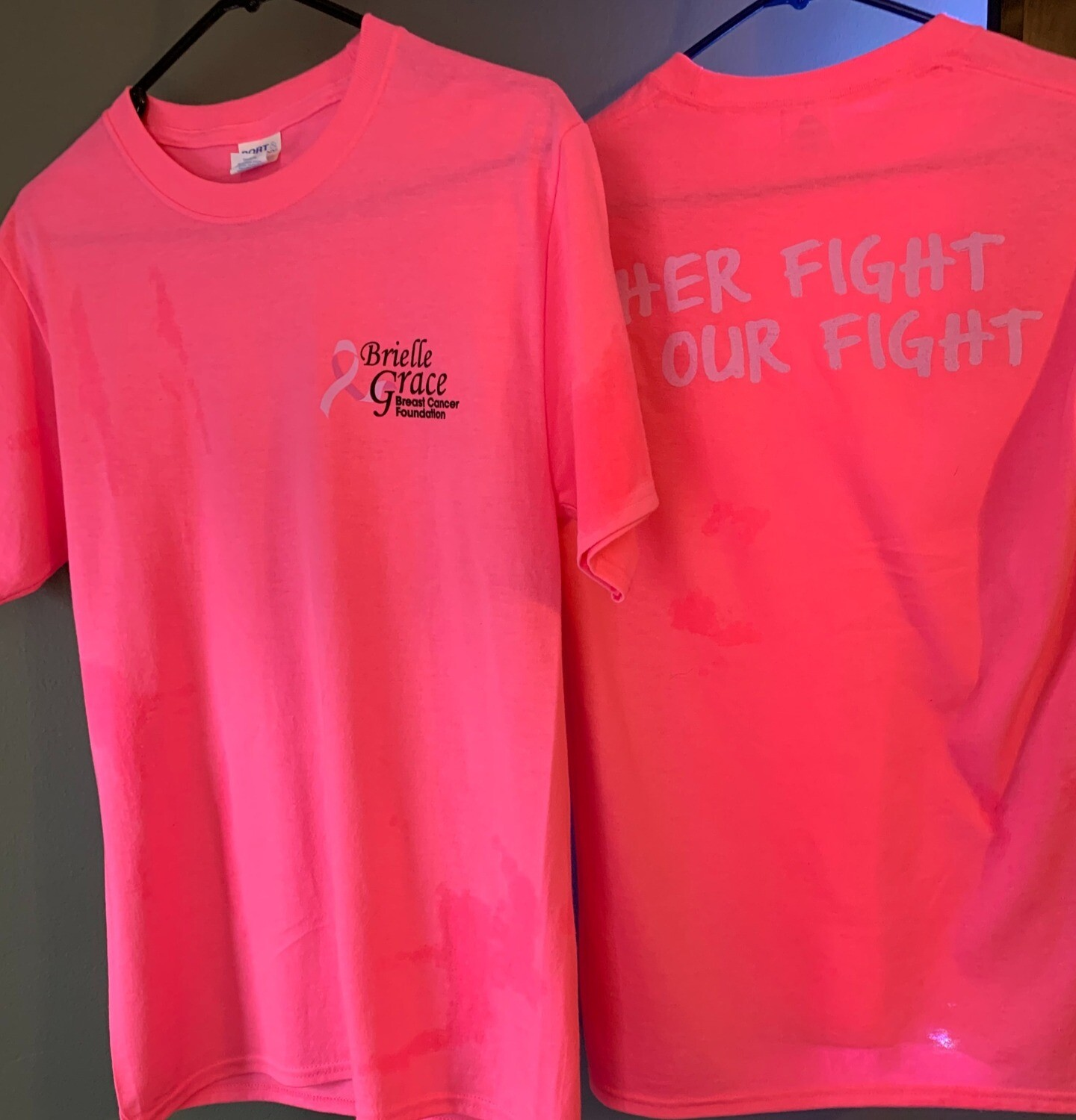 Brielle Grace Logo Shirts   Pink shirt Her Fight is our fight ! Donation