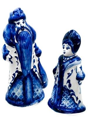 Набор новогодний Дед Мороз (12см) со Снегурочкой (10см)