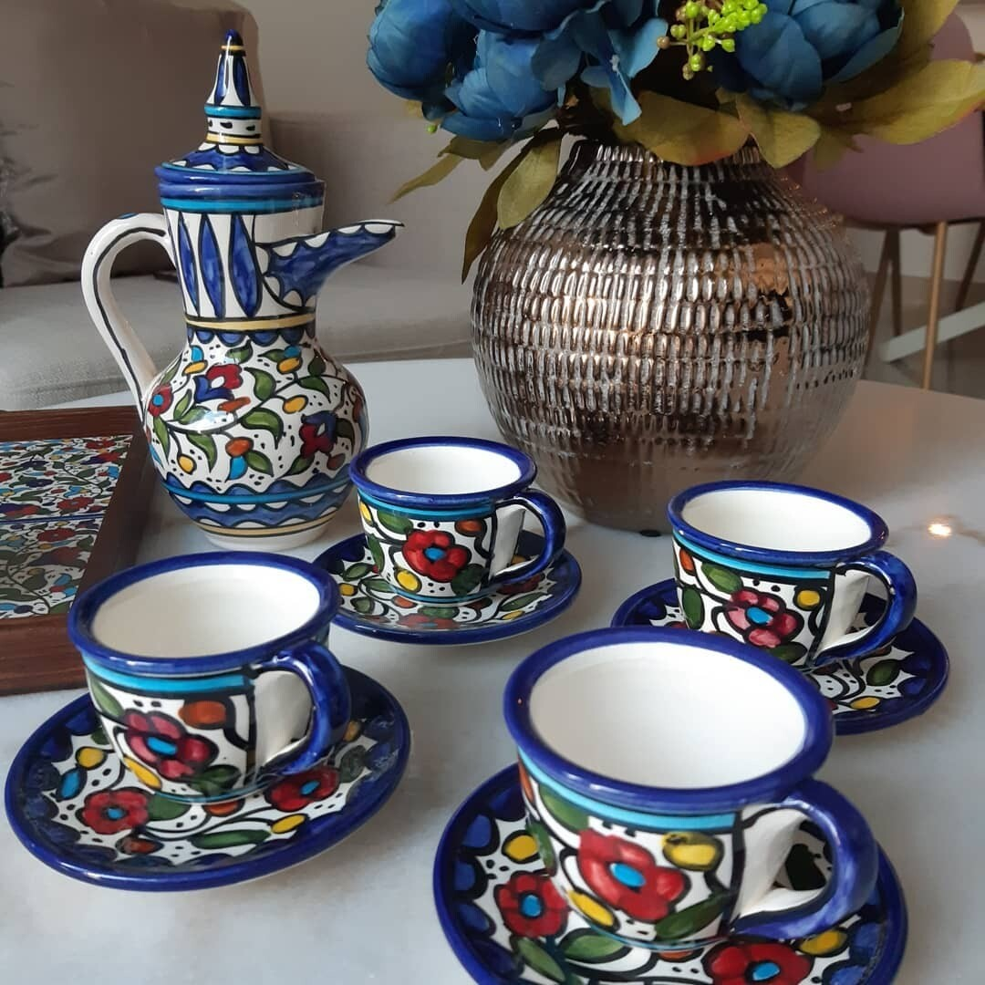 Turkish Coffee Set with 4 cups and saucer