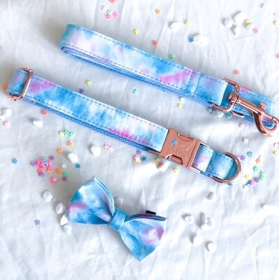 Cotton candy Stainless Steel Bundle (COLLAR, LEASH, FREE BOWTIE)