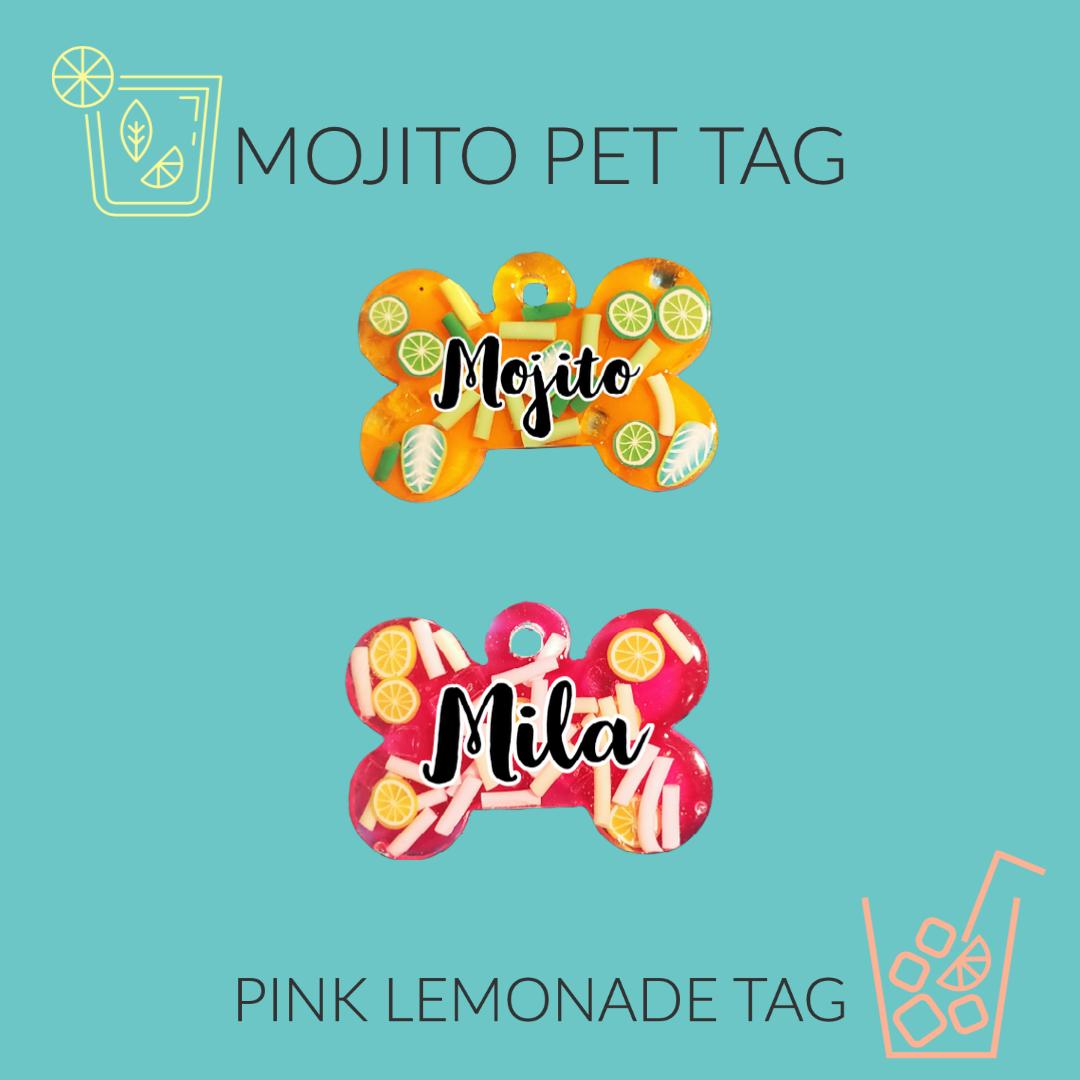MOJITO & PINK LEMONADE PET TAGS