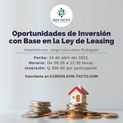 Oportunidades de inversión con base en la Ley de Leasing