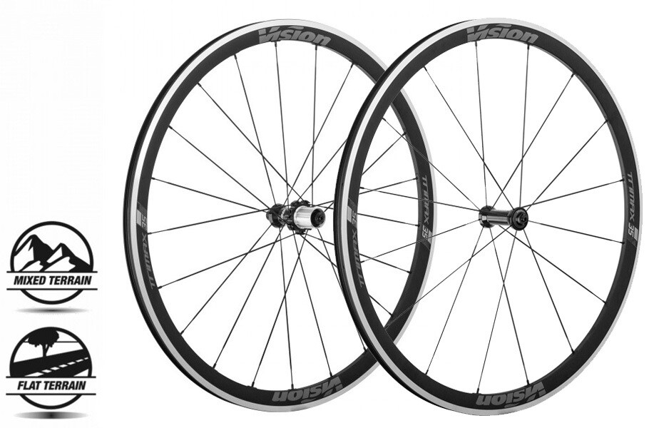 Paire de Roues Vision Trimax35 patins CL pneus