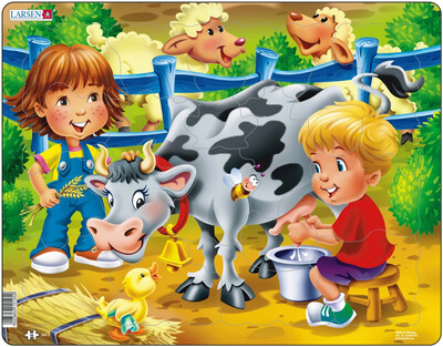 "Пазл Larsen ""Дети на ферме, корова"", 18 деталей"