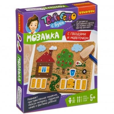 Набор для творчества BONDIBON. Мозаика с гвоздями и молоточком (прессованный картон). На ферме