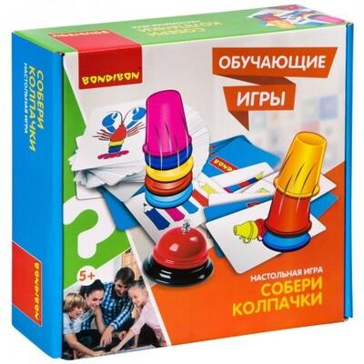 Обучающие игры Bondibon Настольная игра «СОБЕРИ КОЛПАЧКИ»