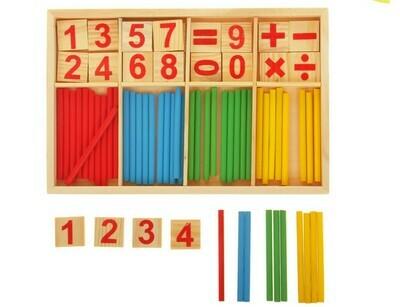 Счетные палочки, цифры и знаки, 72 элемента