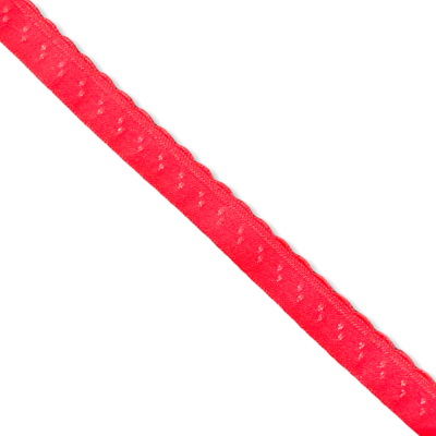 Red fold-over elastic with picot (10 mm)