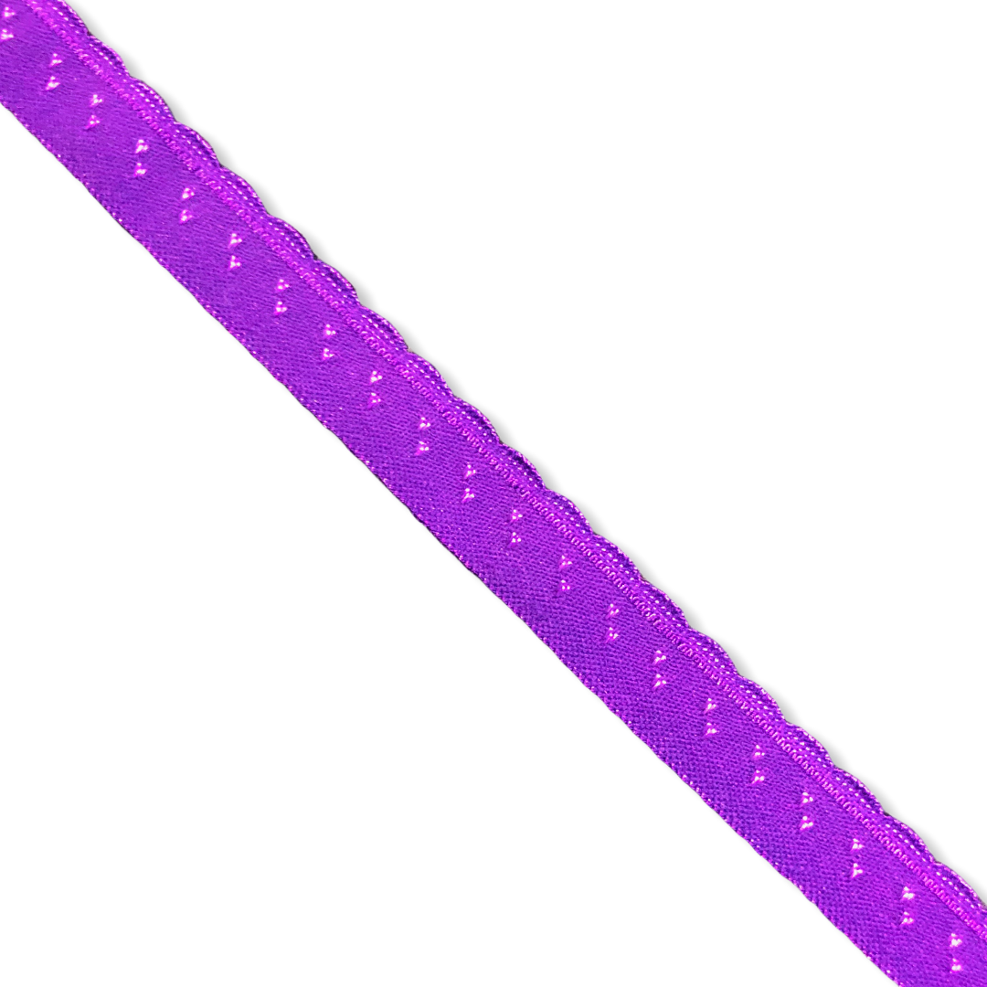 Purple fold-over elastic with picot (10 mm)