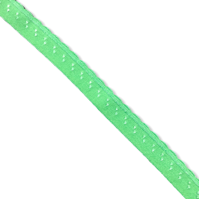 Green fold-over elastic with picot (10 mm)